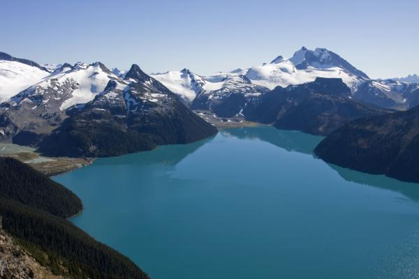 Turquoise Garibaldi Lake with mountains, snow, and glaciers | Panorama Ridge | Canada