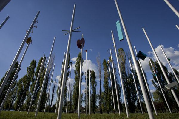 Looking up the poles at Détour: le grand jardin by Michel Goulet | Parc René Lévesque | le Canada