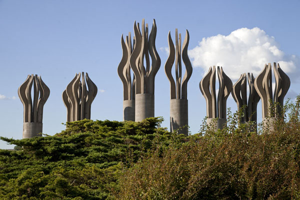 Picture of Hommage à René Lévesque, installation by Robert Roussil, on the western side of the peninsulaMontreal - Canada
