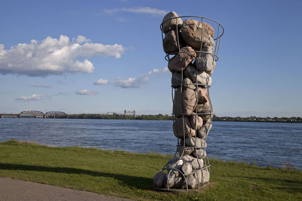 Picture of Parc René Lévesque (Canada): Leg filled with stones on the banks of St. Lawrence River, one of the five such legs