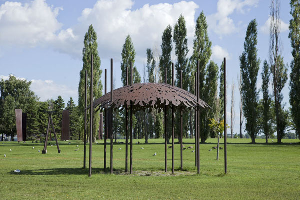 Picture of Parc René Lévesque (Canada): The Passing Song by Catherine Widgery can be seen in the middle of the park