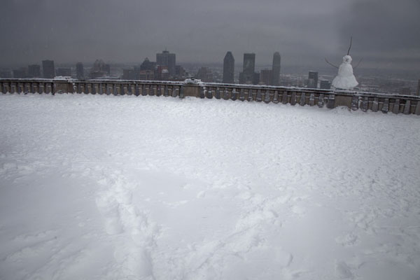 Picture of View over Montreal city from the platform with snowmanMontreal - Canada