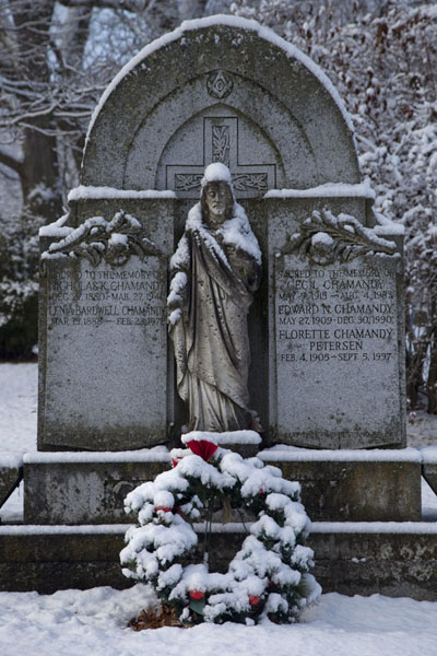 Snow-covered statue and tombstone in Mount Pleasant cemetery | Toronto Ravine Walk | Canada
