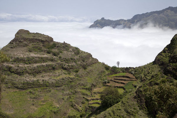 Ridge of the mountains east of Cova with terrace and clouds | Coculi to Rabo Curto hike | Cape Verde