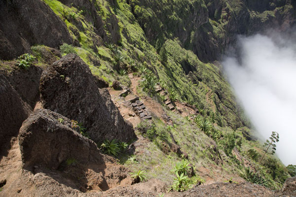 The stone path leading down the steep upper slopes of the Ribeira de Torre | Coculi to Rabo Curto hike | Cape Verde