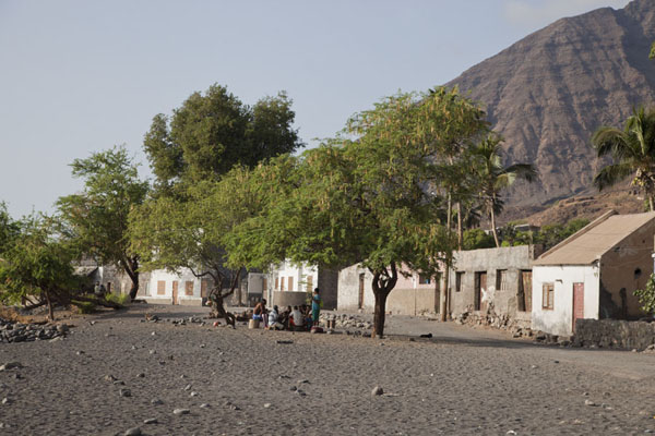 Picture of Tarrafal (Cape Verde): Street in Tarrafal with houses and trees