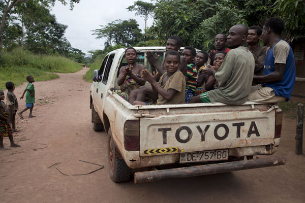 Picture of The BaAka pygmies on their way to the net huntBayanga - Central African Republic