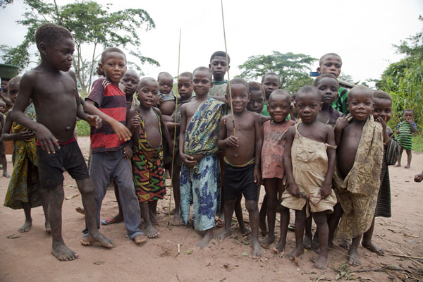 Picture of BaAka pygmy kids posing for a picture before the huntBayanga - Central African Republic