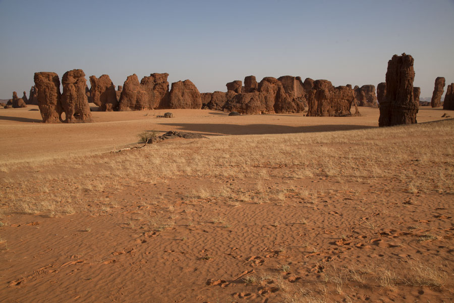 Picture of Rock formations standing firm on a plain of Abaike Tassili - Chad - Africa