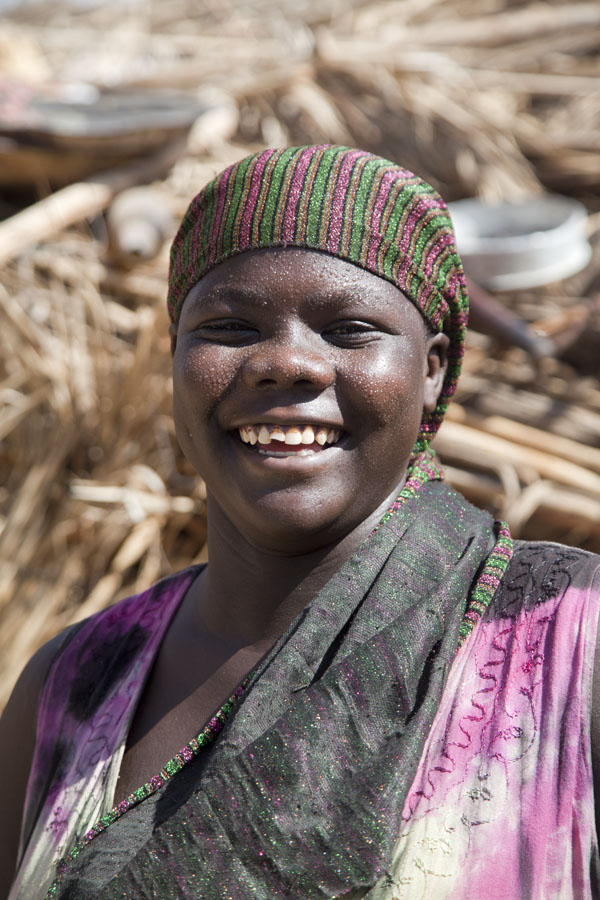 Big smile on the face of a woman in Fada, main town of the Ennedi region | Chadian people | Chad