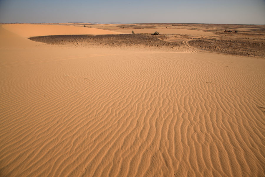 Photo de View from a dune: tanks scattered all over the desert battlefield - Tchad - Afrique