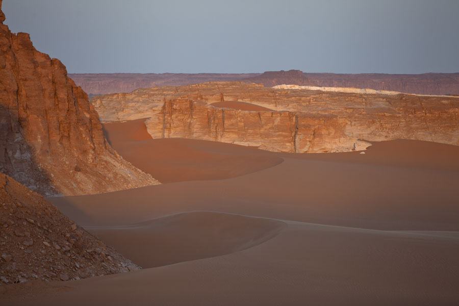 Picture of Ounianga Lakes (Chad): Dawn at the sand dunes and rocky mountains near Ounianga Serir