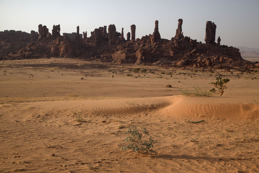 View of a row of rocky pillars in the late afternoon Terkei Kisimi landscape | Terkei Kisimi | Chad