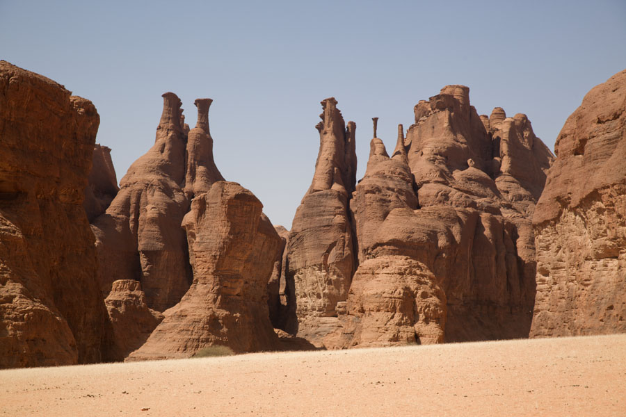 Rock formation with pillars in Tokou | Tokou massif | Chad