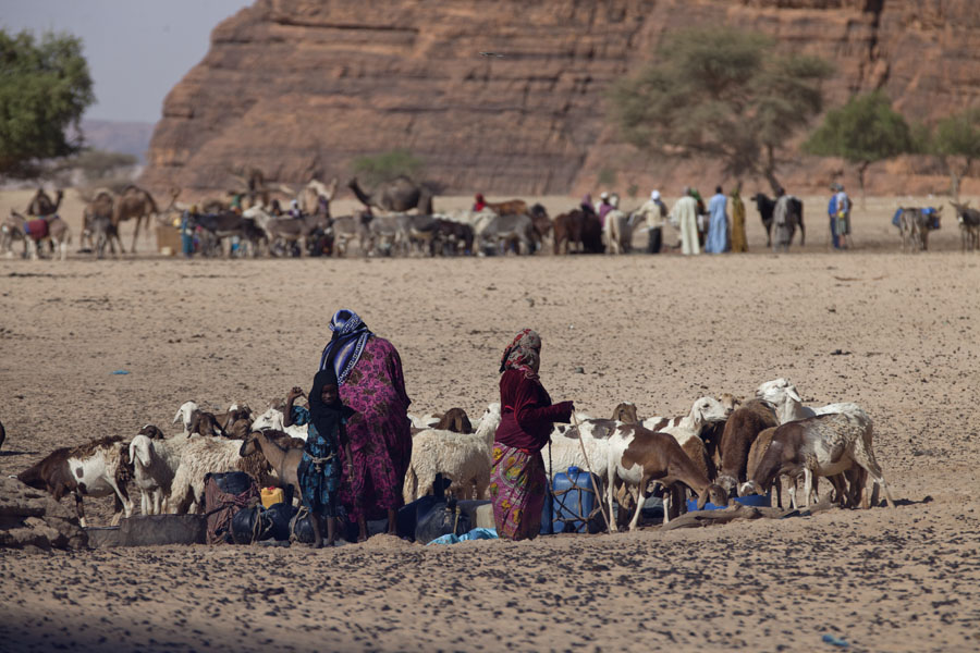 Picture of Nomads taking water out of the wells at TokouTokou wells - Chad