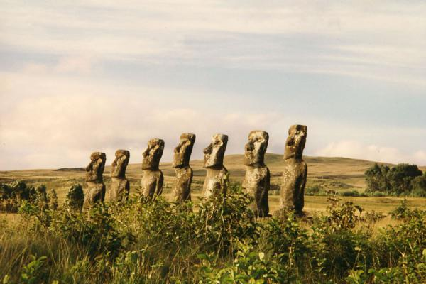 Platform with statues on Easter Island | Isla de Pascua | Chile