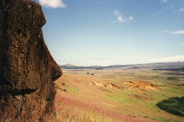 Statue looking out over the landscape of Easter Island | Easter Island | Chile