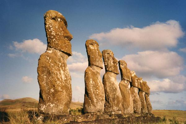 Row of statues on a platform on Easter Island | Easter Island | Chile