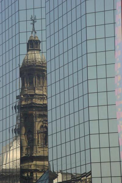 Old church reflected in modernity | Santiago di Cile | Cile