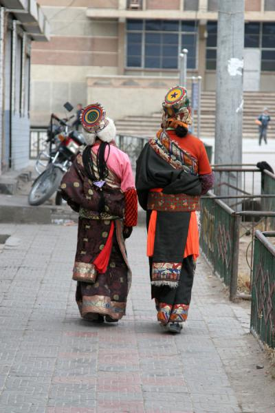 View on the traditional dress of Amdo Tibetans | Amdo Tibetans | China
