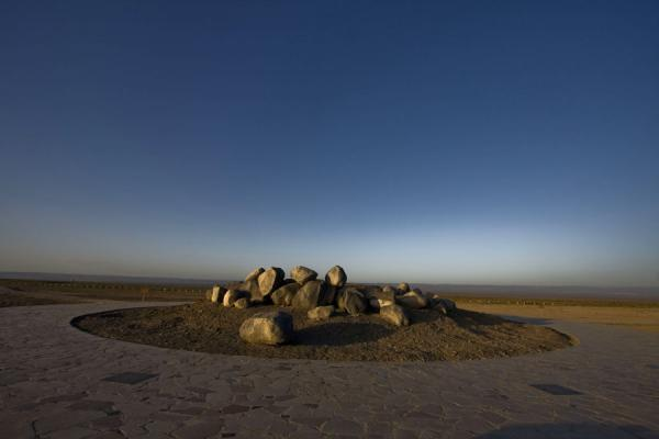 Picture of Ayding lake (China): Early morning over the rocks and stones with big lakes and high mountains in the world