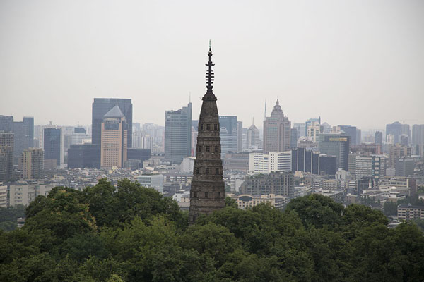 View of Baochu Pagoda and the skyline of Hangzhou | Baoshi mountain | China