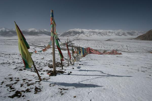 View from the top of the prayer flags above Batang sky burial site | Batang hemelbegrafenis | China