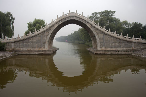 Picture of Xiuyi Bridge reflected in the waters of the canal entering Kunming Lake