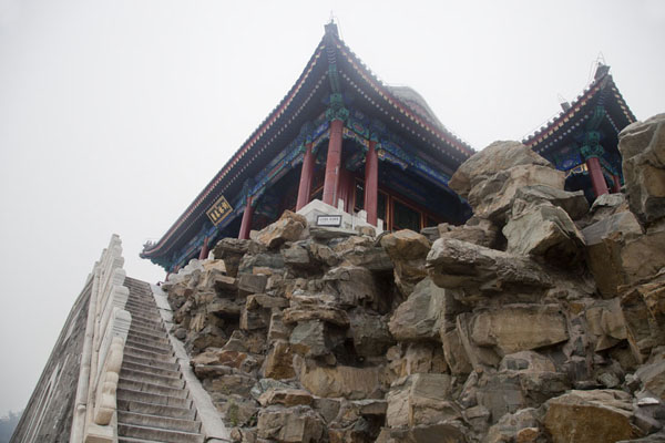 Picture of The gabled roof of the Hall of Embracing the Universe on South Lake Island - China - Asia