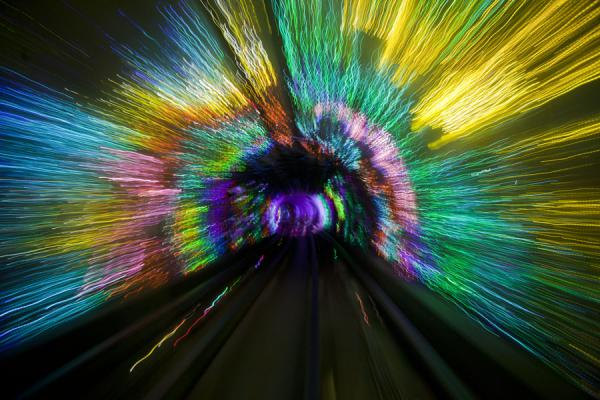 Bright colours everywhere inside the Bund Sightseeing Tunnel | Shanghai | China