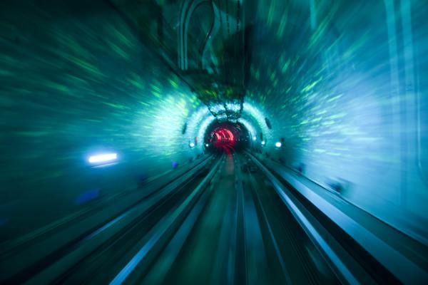 Looking ahead in the light show of the Bund Sightseeing Tunnel | Shanghai | China