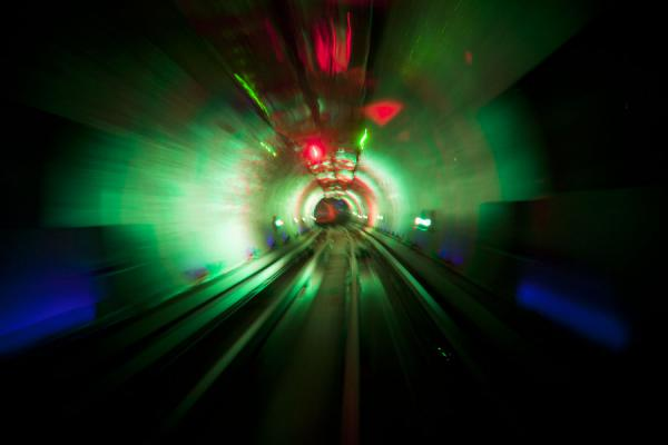 Tracks in green light inside the Bund Sightseeing Tunnel | Bund Sightseeing Tunnel | China