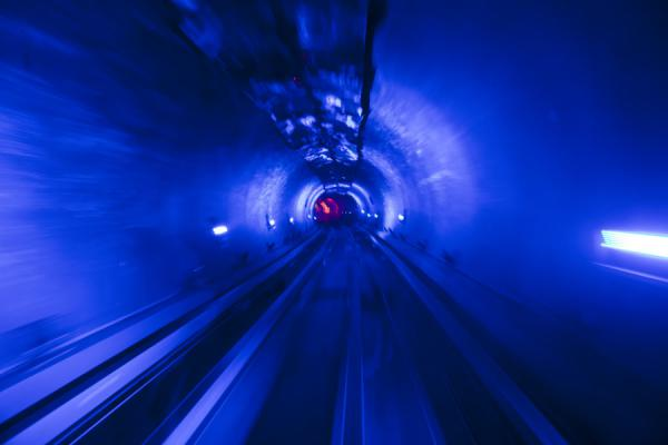 Blue Bund Sightseeing Tunnel with rails | Shanghai | China