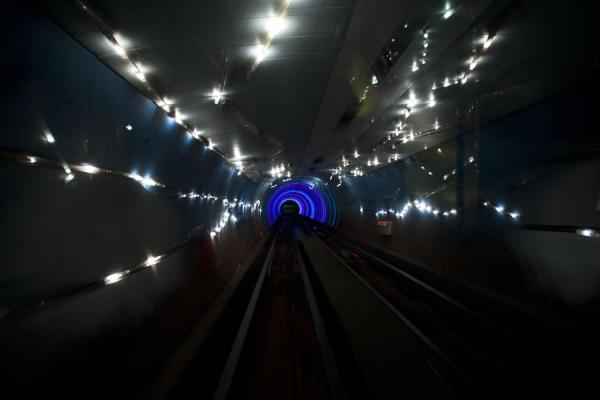 Picture of Bund Sightseeing Tunnel (China): Looking ahead into the light effects of the Bund Sightseeing Tunnel