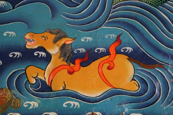 Swimming horse in detail of wall painting of Tsozong monastery | Draksum-Tso | China