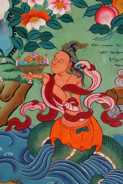 Detail of wall painting in Tsozong monastery | Draksum-Tso | China