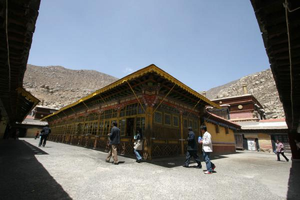 Picture of Drepung monastery (China): Rooftop view of main assembly hall of Drepung monastery