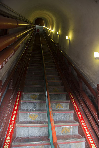 Foto van The steep stairs leading to the upper floor of the Drum TowerBeijing - China