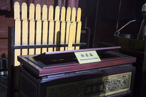 Foto di Incense holder used to calculate time on display in the museum of the Drum TowerPechino - Cina