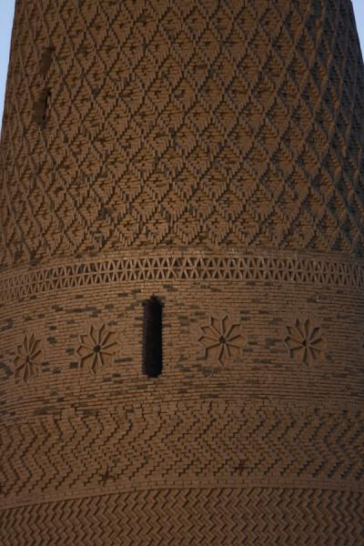 Detail of the intricately decorated minaret of Emin | Emin minaret | China