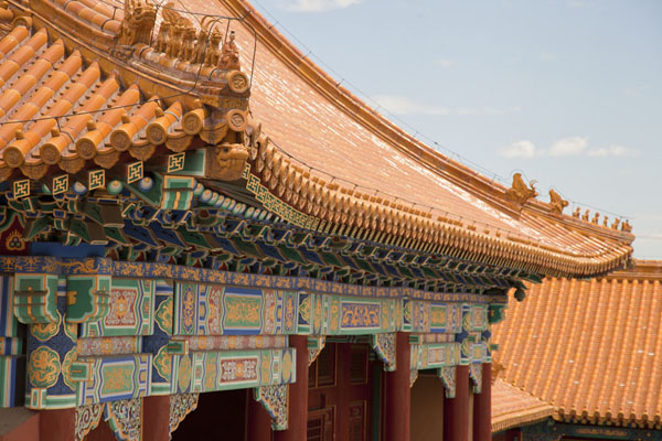 Foto van Roof of the Middle Left Gate seen from the Hall of Supreme HarmonyBeijing - China