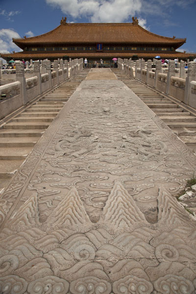 Picture of Forbidden City (China): Dragons and clouds carved in the imperial carriageway leading to the Hall of Supreme Harmony