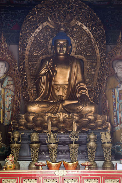 Sakyamuni sitting peacefully in a hall of Biyun Temple | Fragrant Hills | 中国