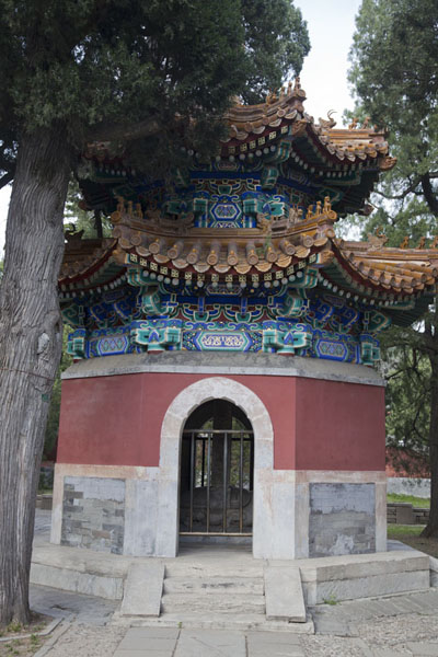 Picture of Pavilion with a statue of a turtle inside with yellow-coloured roof tiles