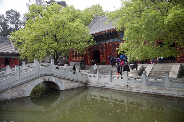 Picture of Pond with bridge, part of the Imperial Residence, close to the East Gate of Fragrant Hills park - China - Asia