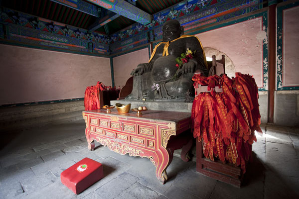 Foto di Bronze image of Maitreya Buddha in the Devaraja, or Heavenly Kings, HallPechino - Cina