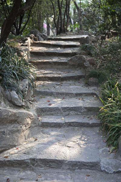 Stairs leading up a man-made hill in Fuxing Park | Parc Fuxing | Chine