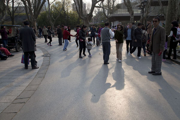 Picture of Dancers in the park: dancing to classical dance music in Fuxing ParkShanghai - China