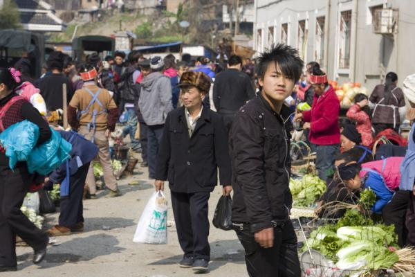 Picture of Gedong market (China): Young and old go shopping in Gedong
