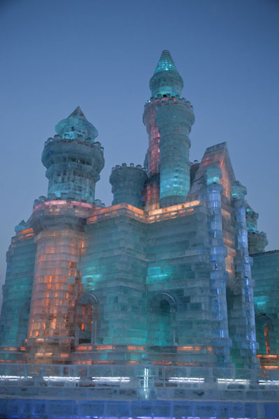 Blue light inside one of the fairy tale ice castles | Ice and Snow World | China